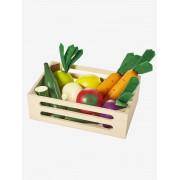 VERTBAUDET Caixa de legumes em madeira bege medio liso com motivo