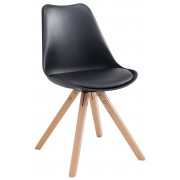 CLP Chaise Toulouse similicuir piétement carrée, noir CLP noir, hauteur de l'assise