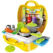 YIJUN Ultimate Kid Chef's Bring Along Kitchen Pretend Play Toys Suitcase Set (Yellow)