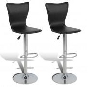 vidaXL Justerbar L-formad barstol med snurr, svart konstläder, 2 st.