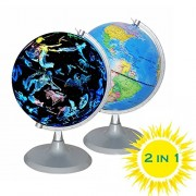 Cyho Illuminated World Globe - USB 2 in 1 Led Desktop Globe, Night View Stars and Constellations for Kids Adults, Ideal Educational Geographic Learning Toy