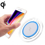 5V 1A Universal 5W Transparent Frame Fast Qi Standard Wireless Charger with Indicator Light For iPhone X & 8 & 8 Plus Galaxy Huawei Xiaomi LG Nokia Google and other Smart Phones (Blue)