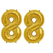 De-Ultimate Solid Golden Color 2 Digit Number (88) 3d Foil Balloon for Birthday Celebration Anniversary Parties