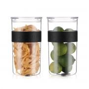 Bodum PRESSO Set de 2 bocaux conservation en plastique, avec couvercle hermétique, 2.0 l Noir