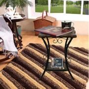 Onlineshoppee Wood Iron Handmade Design End Table/Stool (LxBxH-12x12x16) Inch