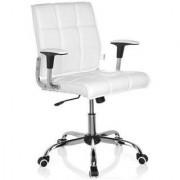 Hjh Sedia ufficio ESTEBAN, base in alluminio, elegante design in pelle color bianco