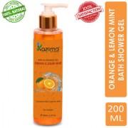 KAZIMA Orange Lemon Mint Bath Shower Gel Luxury Body Wash with Vitamins C (200ML) (Free From Parabens)