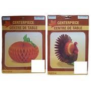 Greenbrier 2 Pack Thanksgiving Tissue Paper Honeycomb Centerpiece Turkey and Pumpkin