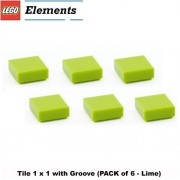 Lego Parts: Tile 1 x 1 with Groove (PACK of 6 - Lime)