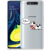 Samsung Galaxy A80 Telefoonhoesje met Naam Cow