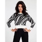 Guess Jacquard Sweater Met Studs - Zwart multi - Size: Small