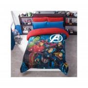 Cobertor Borrega Avengers Matrimonial Poliester Azul Concord