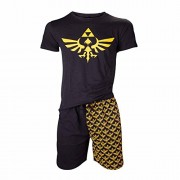 Nintendo Legend of Zelda Shortama Nightwear Set (Large, Black/Gold)