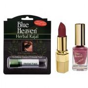 Blue Heaven Xpression Lipstick Mc 132 Xpression Nail Paint 927 Herbal Kajal Combo.(Set of 3)