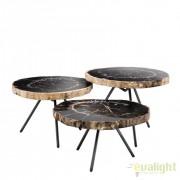Set de 3 masute de cafea design LUX De Soto lemn pietrificat 111465 HZ