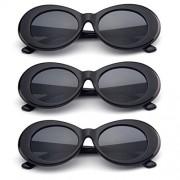 Kicko Juego de 3 anteojos de estilo retro para fiestas, despedidas de soltera, hippie, día festivo, playas de arena y uso diario, color negro