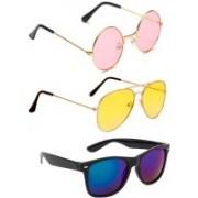 Elligator Round, Aviator, Wayfarer Sunglasses(Pink, Yellow, Blue)