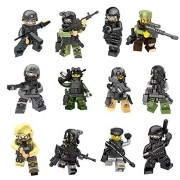 Minifigures Set - Army Minifigures SWAT Team With Military Weapons Accessories, Policeman Soldier Minifigures Toys Building Blocks 100% Compatible 12 Piece
