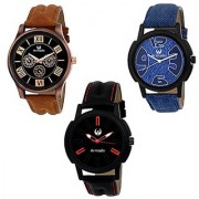 Armado Analogue Black Blue Dial Watches for Men (AR-111584) - Combo of 3