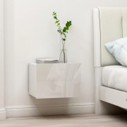 vidaXL Нощни шкафчета, 2 бр, бял гланц, 40x30x30 см, ПДЧ