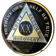 20 Year Classic Black AA Alcoholics Anonymous Medallion Sobriety Chip Tri Plate Gold Nickel Plated Serenity Prayer