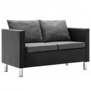 vidaXL Canapea cu 2 locuri, piele ecologică, negru și gri deschis