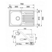Pachet chiuveta inox dekor Franke PXL 611, picurator stanga + baterie crom Basic