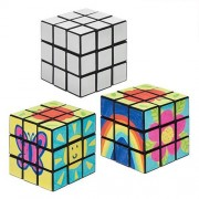 Colour In Speed Cubes - 2 Puzzle Cubes For Decorating. Brain Teasers For Kids. Size 5.4cm x 5.4cm x 5.4cm.