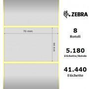 Etichette Zebra - Z-Ultimate 3000T Silver, formato 70 x 44