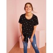 VERTBAUDET T-shirt pré-mamã, para atar preto escuro estampado