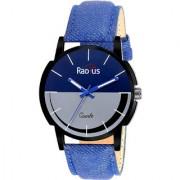 RADIUS QUARTZ ANALOG BLUE GREY ROUND DIAL MEN'S WATCH-R-6