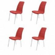 Set 4 scaune bucatarie CB S-02 culoare Rosu Metal cromat