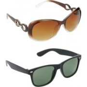 Hrinkar Over-sized Sunglasses(Brown, Green)