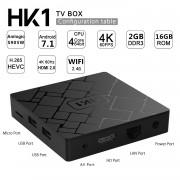 TV BOX HK1 4K Android 7.1.2 2GB RAM 16GB ROM Kodi 18 S905W Quad Core Wifi Lan Slot Card