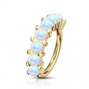 Rook piercing 7 opal steentjes gold plated
