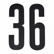 Merkloos Naamsticker cijfer 36 zwart