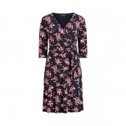 Lauren Woman Floral Jersey Surplice Dress - Lh Navy/Orient Red/Col Cr - Size: UK 20