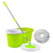 Cleaning Green Spin Mop With Bucket(2 Refill)