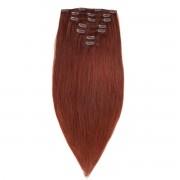 Rapunzel® Hair extensions Clip-on Set Premium 7 pieces 5.5 Mahogany Brown 50 cm