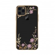 KAVARO Electroplating Flowers Pattern Swarovski Plated PC Phone Case for iPhone 11 Pro Max 6.5 inch - Gold