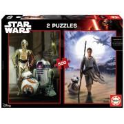 EDUCA 16523 Puzzle STAR WARS:EP.VII - The Force awakens 2x500 bucăţi