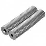 Imanes redondos fuertes del ndfeb del agujero de 15 * 3m m - plata (50 PC)