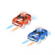 Track Cars Light up Toy Car with 5 Flashing LED Lights Glow in The Dark Racing Track Accessories Compatible with Most Tracks(Pack of 2)
