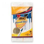 BIC 20124 ROUND STIC BALLPOINT PEN LIGHTWEIGHT MEDIUM 1.0MM TRANSLUCENT ROUND BARREL ASSORTED PACK 10
