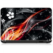 VI Collections RED AND BLACK FLOWER ABSTRACT PRINTED VINYL Laptop Decal 15.5