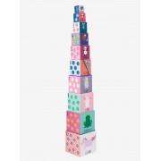 VERTBAUDET Torre gigante com 10 cubos, tema princesas rosa claro liso com motivo