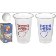 Beer Pong Game - 2 Bolde 12 Bægre Med Rød + Blå Tekst