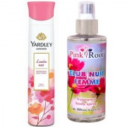 Yardley London Mist Refreshing Body Spray 150ml and Pink Root Club Nuit Femme Fragrance body Spray 200ml Pack of 2
