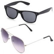 Royal Son Black Wayfarer and Purple Aviator Unisex Sunglasses Combo