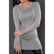 Lejdi Szary sweter z koronką na rękawach 810